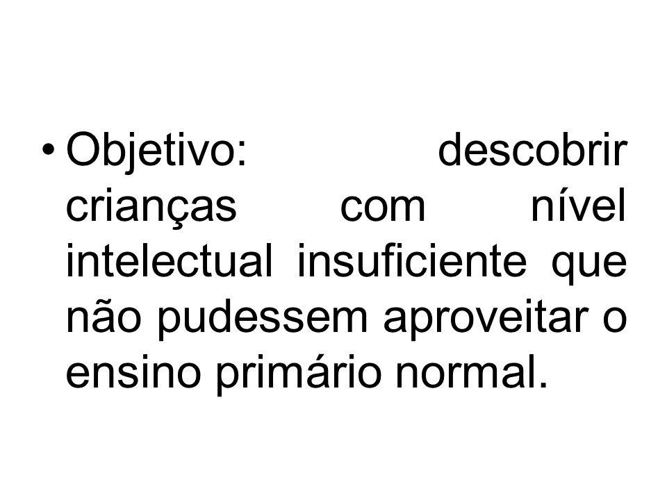 Objetivo: descobrir crianças com nível intelectual insuficiente que não pudessem aproveitar o ensino primário normal.