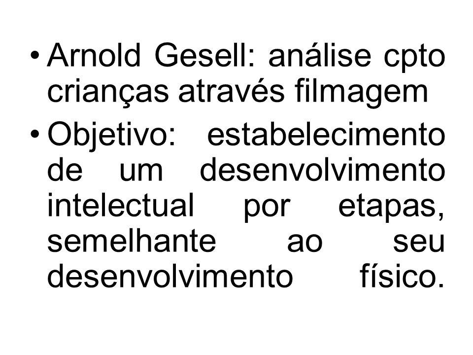 Arnold Gesell: análise cpto crianças através filmagem Objetivo: estabelecimento de um desenvolvimento intelectual por etapas, semelhante ao seu desenvolvimento físico.