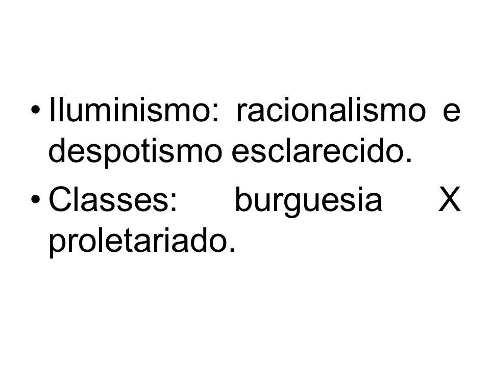 Iluminismo: racionalismo e despotismo esclarecido. Classes: burguesia X proletariado.