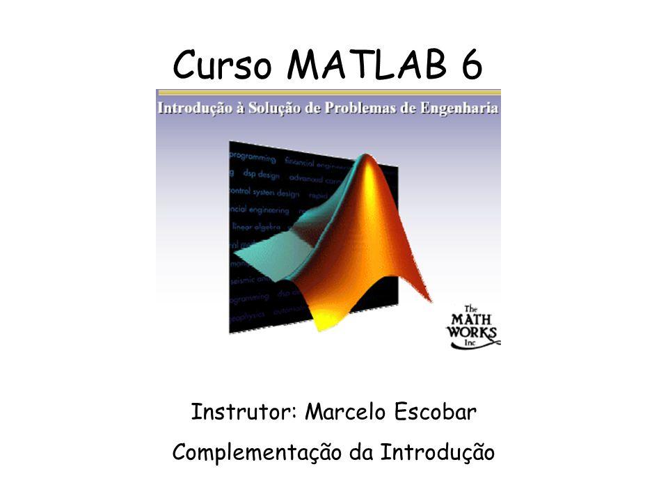 Curso MATLAB 6 Instrutor: Marcelo Escobar Complementação da Introdução