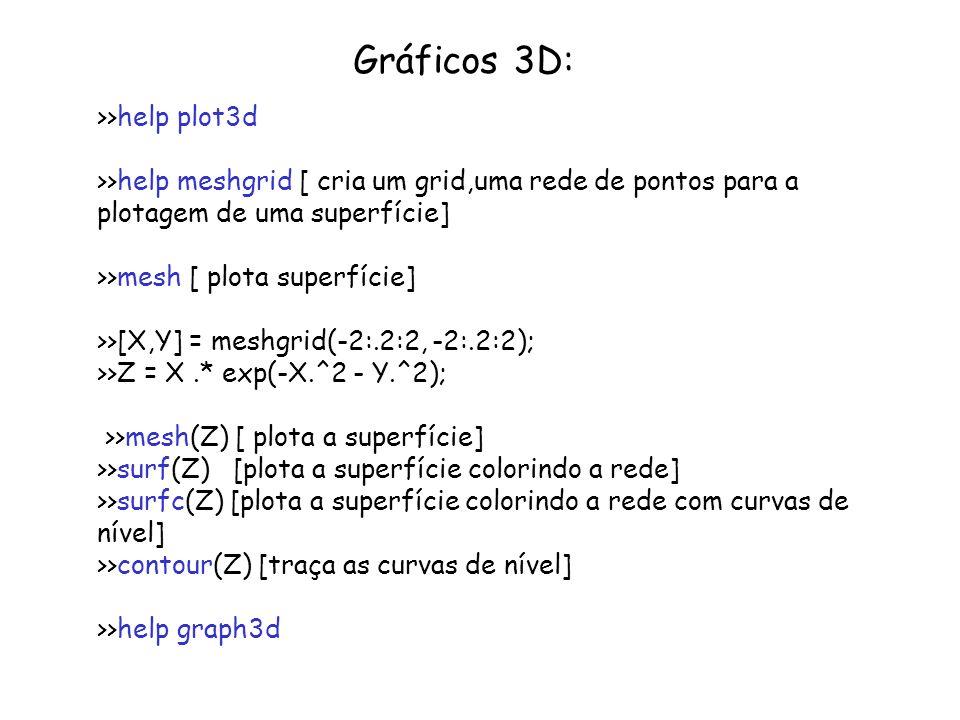 Gráficos 3D: >>help plot3d >>help meshgrid [ cria um grid,uma rede de pontos para a plotagem de uma superfície] >>mesh [ plota superfície] >>[X,Y] = m