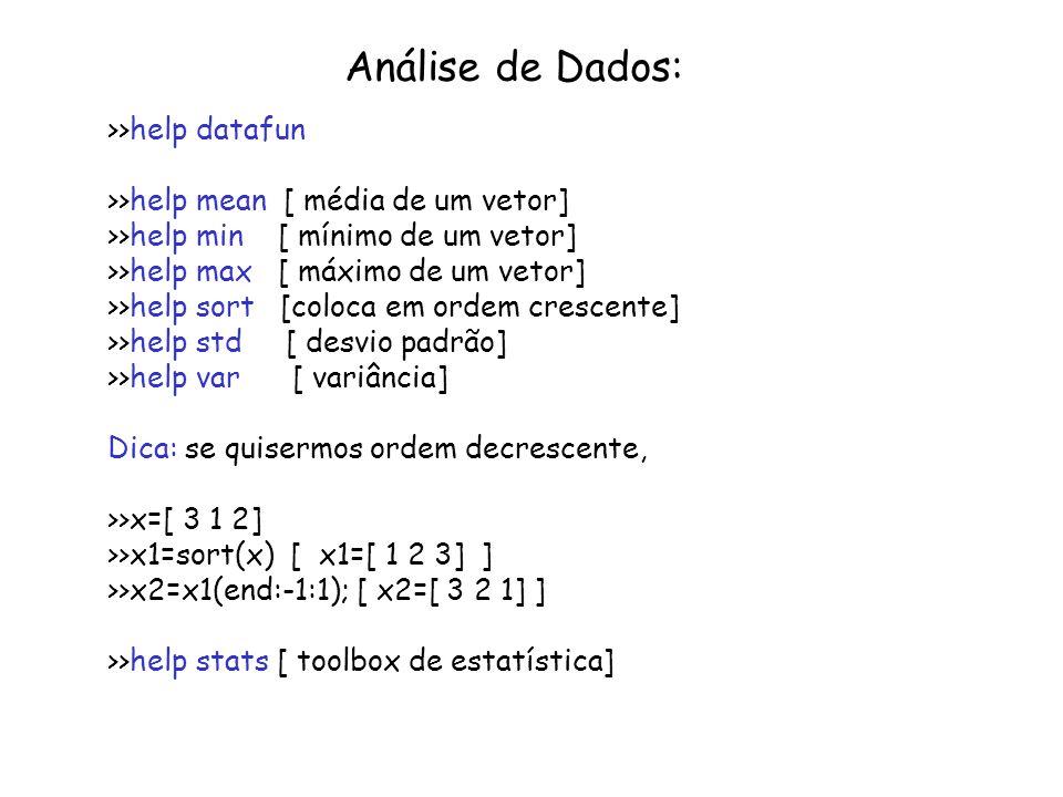 Análise de Dados: >>help datafun >>help mean [ média de um vetor] >>help min [ mínimo de um vetor] >>help max [ máximo de um vetor] >>help sort [coloc