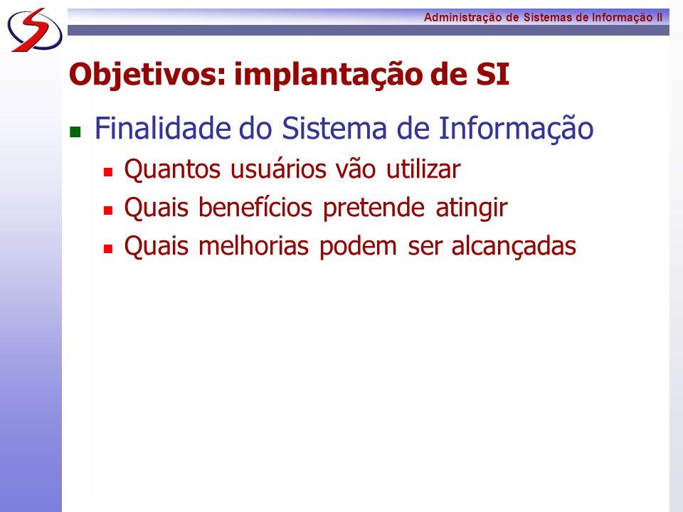 Administração de Sistemas de Informação II Objetivos: implantação de SI Finalidade do Sistema de Informação Quantos usuários vão utilizar Quais benefí
