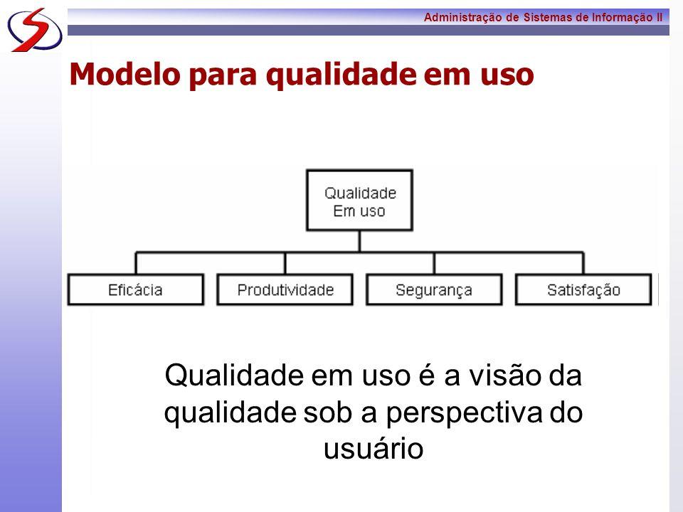 Administração de Sistemas de Informação II Modelo para qualidade em uso Qualidade em uso é a visão da qualidade sob a perspectiva do usuário