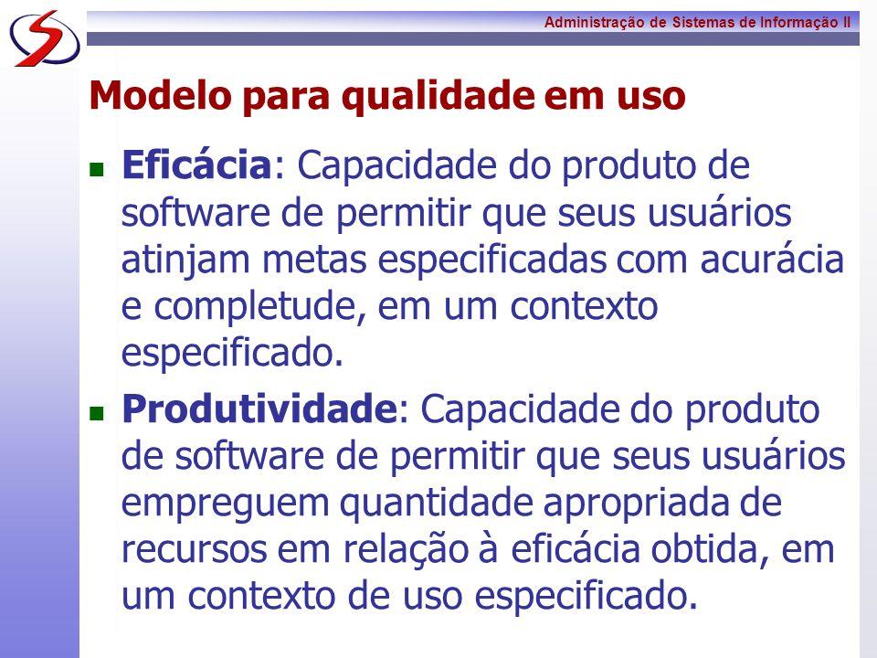 Administração de Sistemas de Informação II Modelo para qualidade em uso Eficácia: Capacidade do produto de software de permitir que seus usuários atin