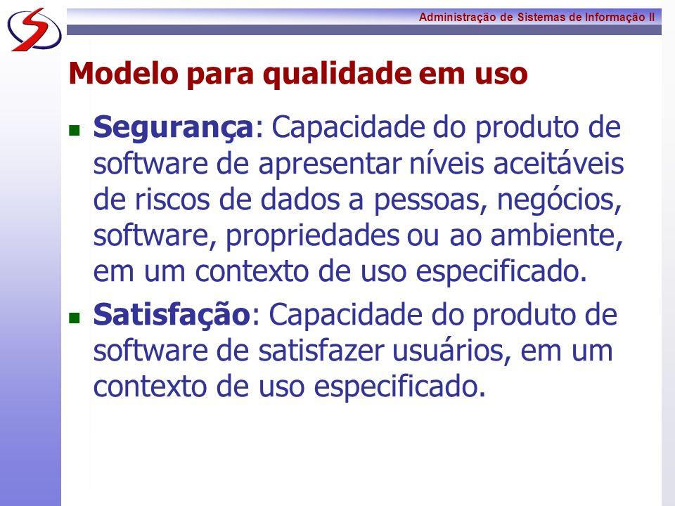 Administração de Sistemas de Informação II Modelo para qualidade em uso Segurança: Capacidade do produto de software de apresentar níveis aceitáveis d