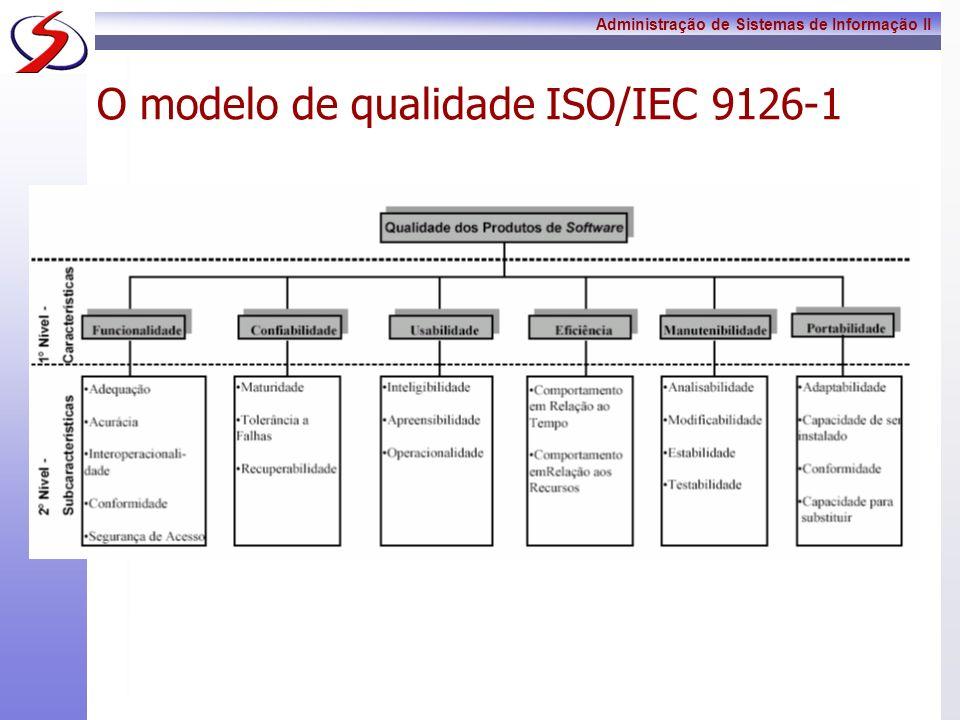 Administração de Sistemas de Informação II O modelo de qualidade ISO/IEC 9126-1 Estas características visam abranger todos os aspectos de qualidade externa e interna de um software, de maneira que seja possível ser especificado qualquer requisito de qualidade através de uma delas.