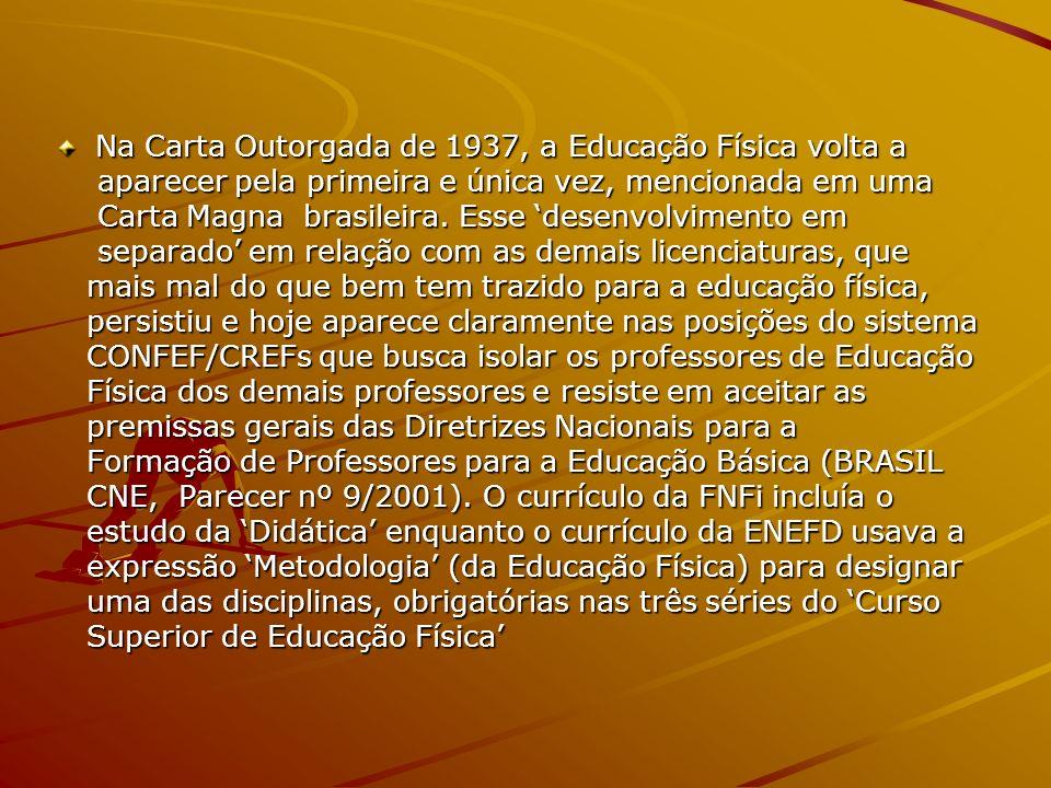 Na Carta Outorgada de 1937, a Educação Física volta a aparecer pela primeira e única vez, mencionada em uma aparecer pela primeira e única vez, mencio