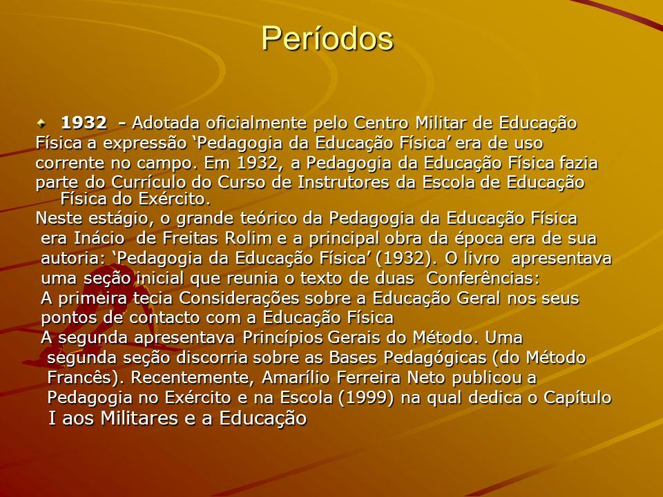 Períodos 1932 - Adotada oficialmente pelo Centro Militar de Educação Física a expressão Pedagogia da Educação Física era de uso corrente no campo. Em