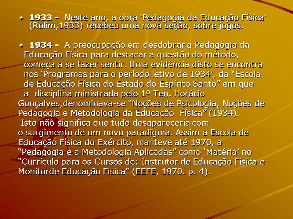1933 - Neste ano, a obra Pedagogia da Educação Física (Rolim,1933) recebeu uma nova seção, sobre jogos. 1934 - A preocupação em desdobrar a Pedagogia