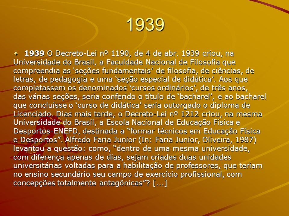 1939 1939 O Decreto-Lei nº 1190, de 4 de abr. 1939 criou, na Universidade do Brasil, a Faculdade Nacional de Filosofia que compreendia as seções funda