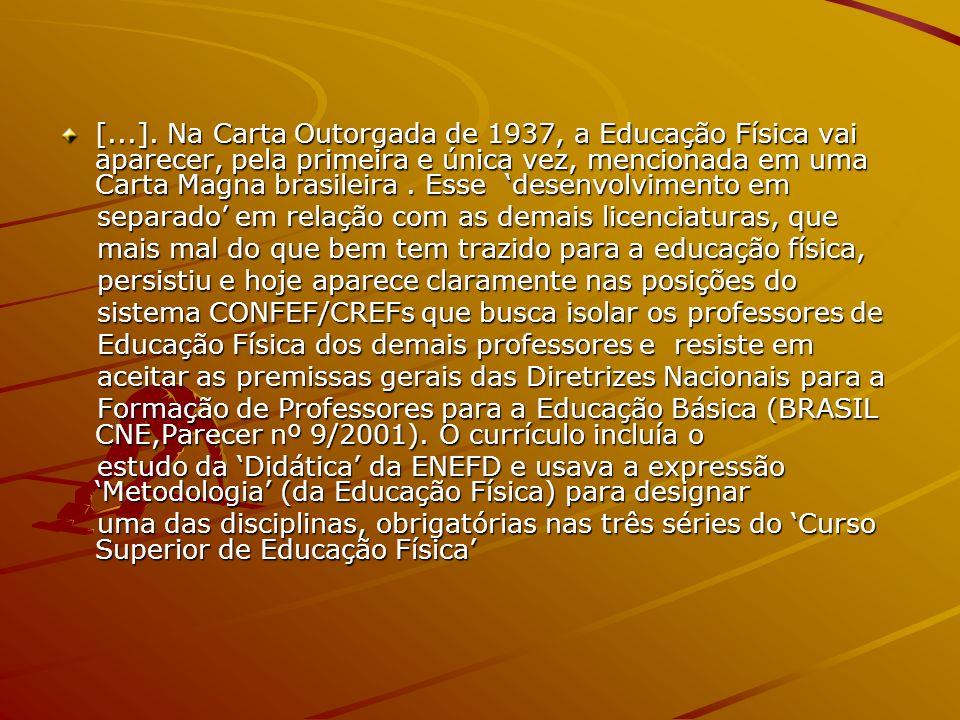 [...]. Na Carta Outorgada de 1937, a Educação Física vai aparecer, pela primeira e única vez, mencionada em uma Carta Magna brasileira. Esse desenvolv