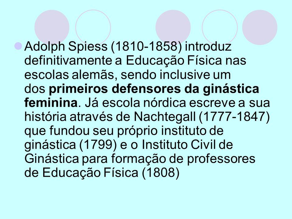 Adolph Spiess (1810-1858) introduz definitivamente a Educação Física nas escolas alemãs, sendo inclusive um dos primeiros defensores da ginástica femi