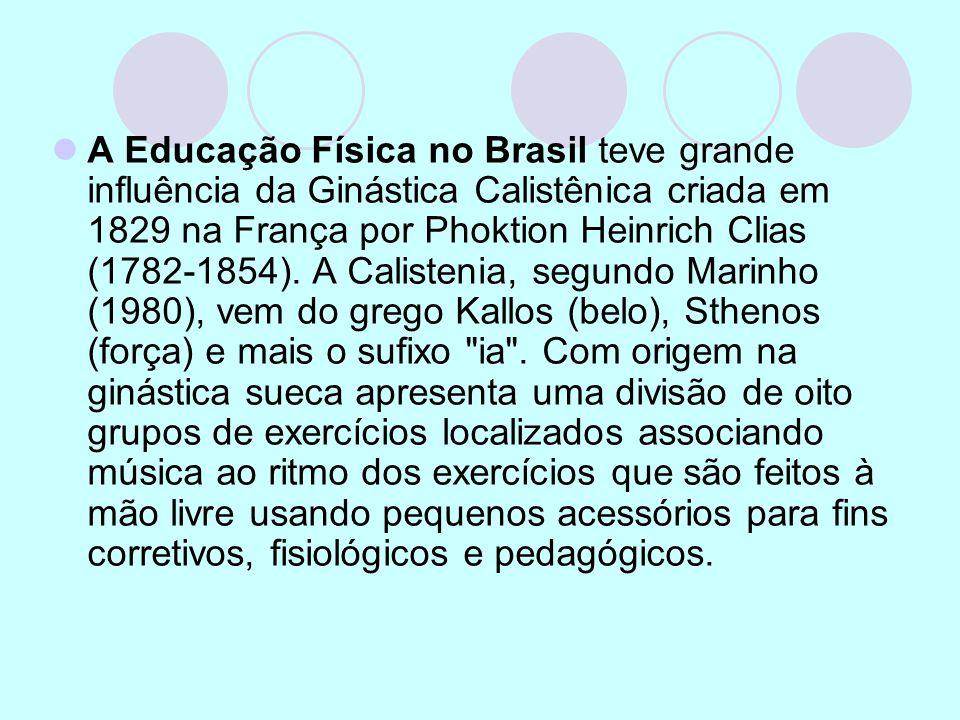 A Educação Física no Brasil teve grande influência da Ginástica Calistênica criada em 1829 na França por Phoktion Heinrich Clias (1782-1854). A Calist