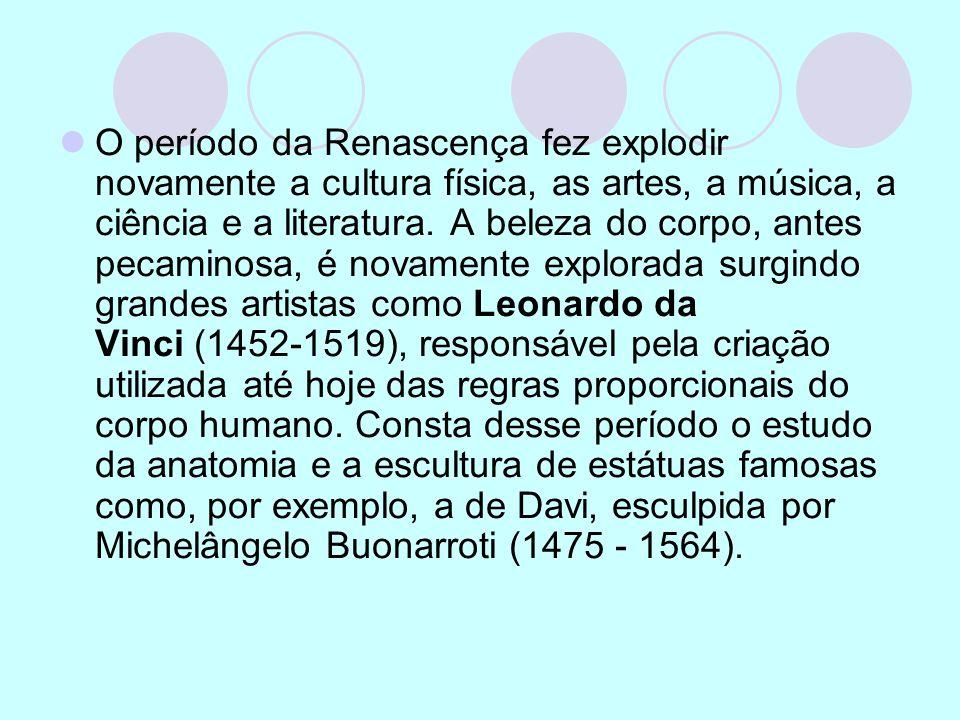 O período da Renascença fez explodir novamente a cultura física, as artes, a música, a ciência e a literatura. A beleza do corpo, antes pecaminosa, é