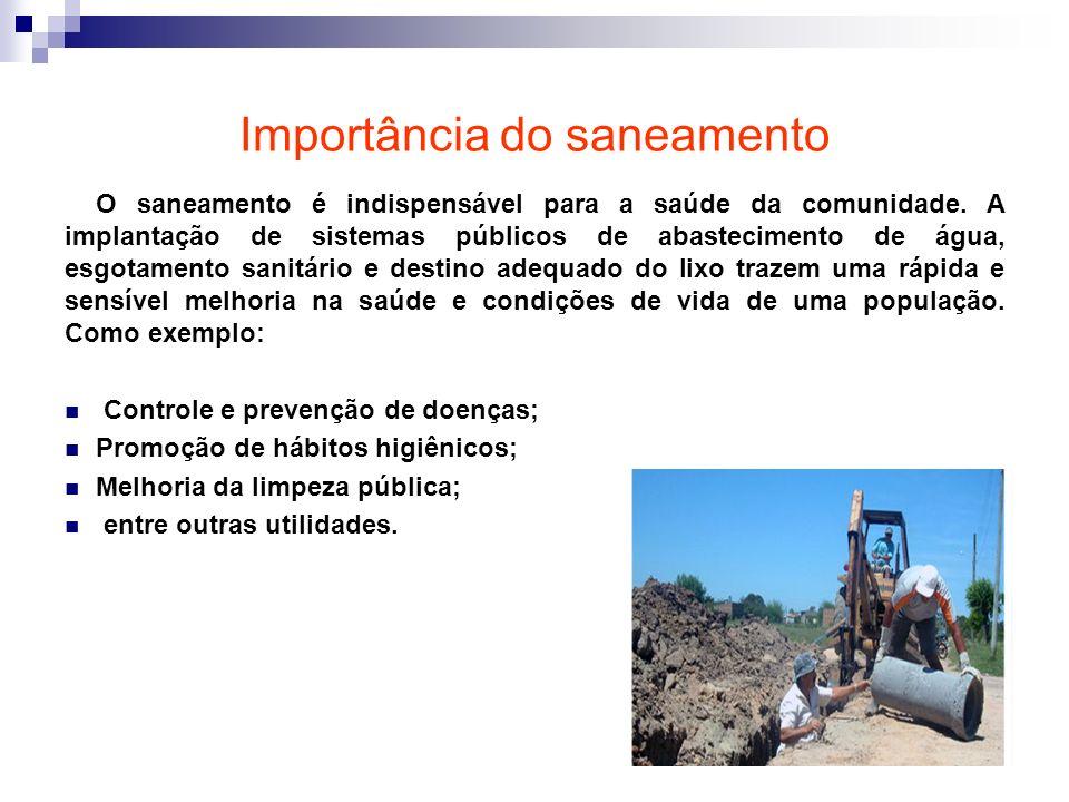 Importância do saneamento O saneamento é indispensável para a saúde da comunidade. A implantação de sistemas públicos de abastecimento de água, esgota