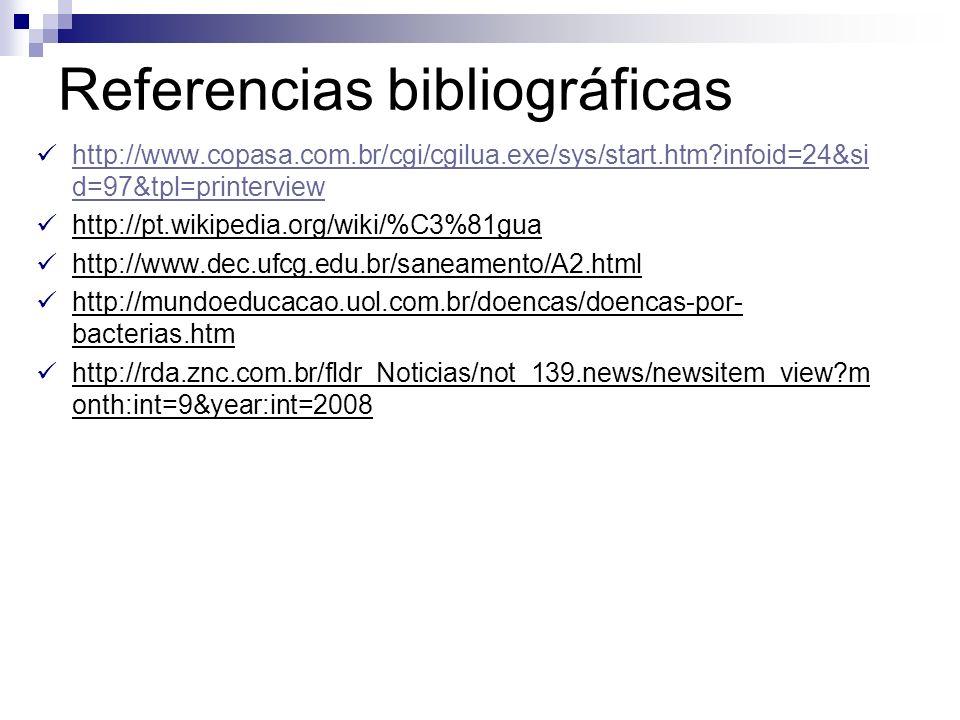Referencias bibliográficas http://www.copasa.com.br/cgi/cgilua.exe/sys/start.htm?infoid=24&si d=97&tpl=printerview http://www.copasa.com.br/cgi/cgilua