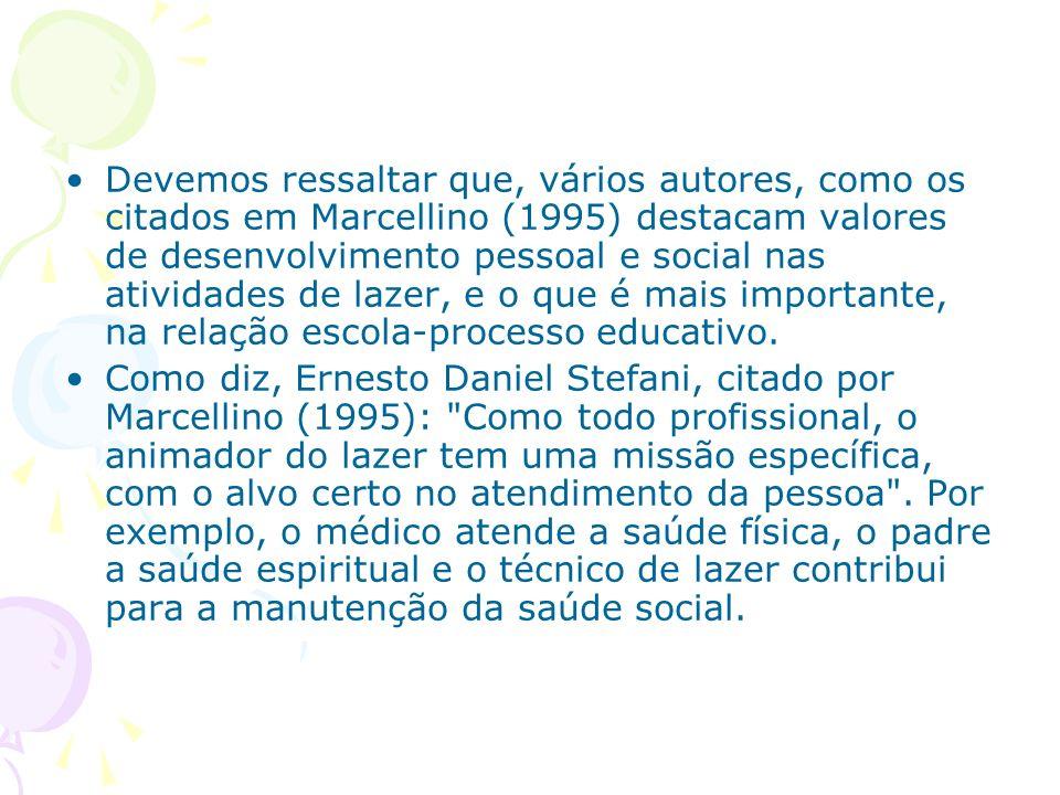 Devemos ressaltar que, vários autores, como os citados em Marcellino (1995) destacam valores de desenvolvimento pessoal e social nas atividades de laz