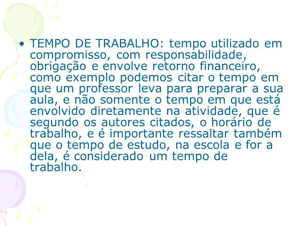 TEMPO DE TRABALHO: tempo utilizado em compromisso, com responsabilidade, obrigação e envolve retorno financeiro, como exemplo podemos citar o tempo em