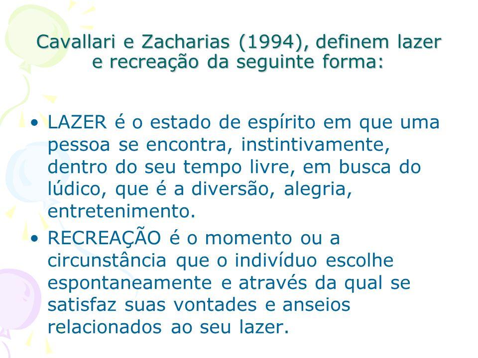 Cavallari e Zacharias (1994), definem lazer e recreação da seguinte forma: LAZER é o estado de espírito em que uma pessoa se encontra, instintivamente