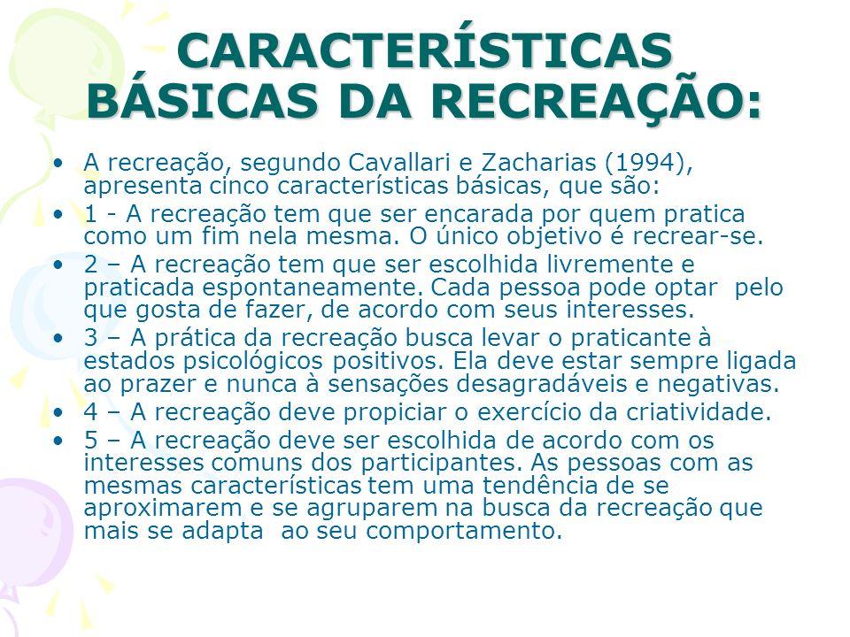 CARACTERÍSTICAS BÁSICAS DA RECREAÇÃO: A recreação, segundo Cavallari e Zacharias (1994), apresenta cinco características básicas, que são: 1 - A recre