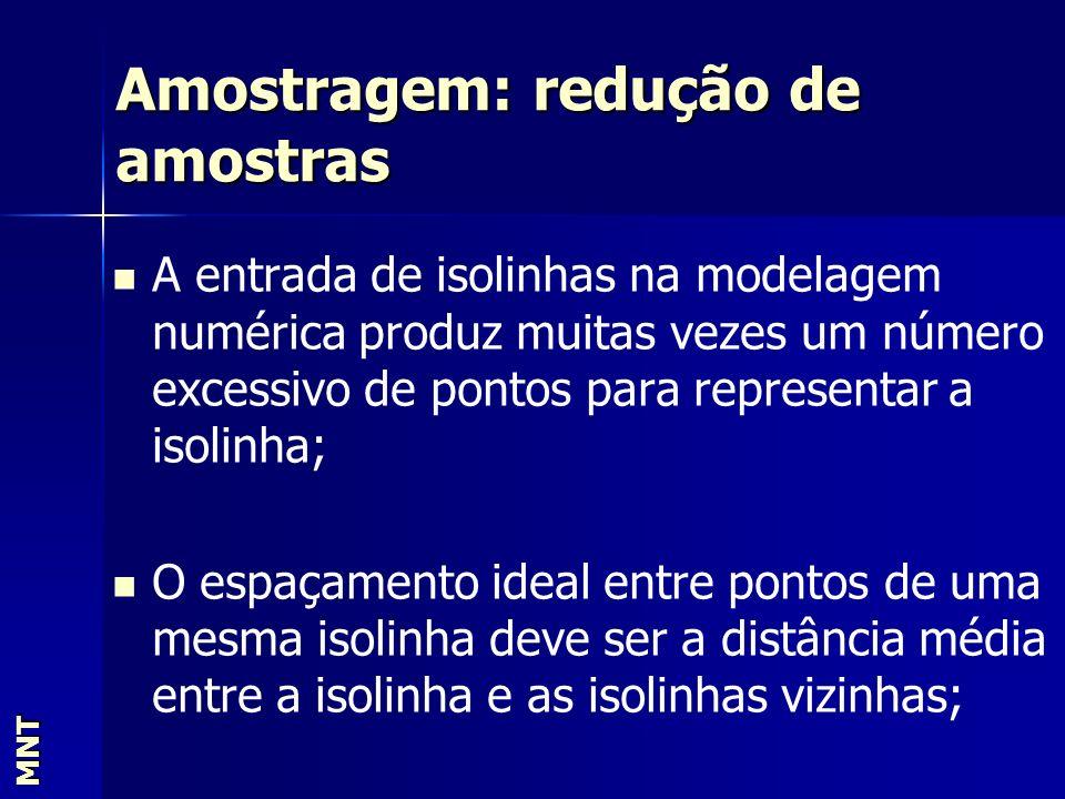 Amostragem: redução de amostras MNT A entrada de isolinhas na modelagem numérica produz muitas vezes um número excessivo de pontos para representar a
