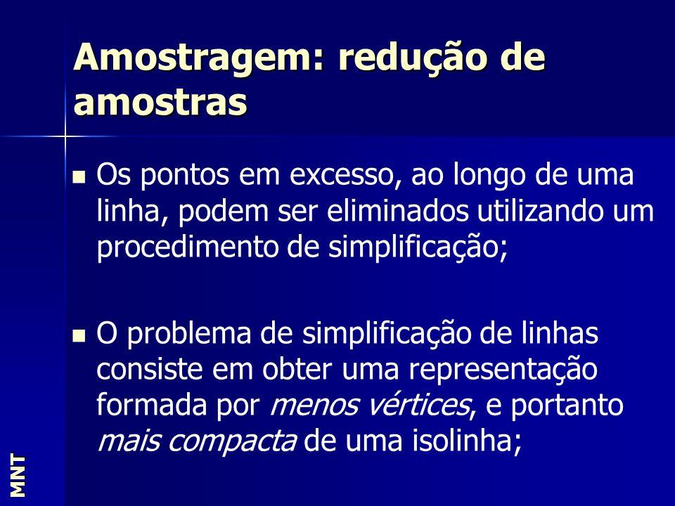 Amostragem: redução de amostras MNT Os pontos em excesso, ao longo de uma linha, podem ser eliminados utilizando um procedimento de simplificação; O p