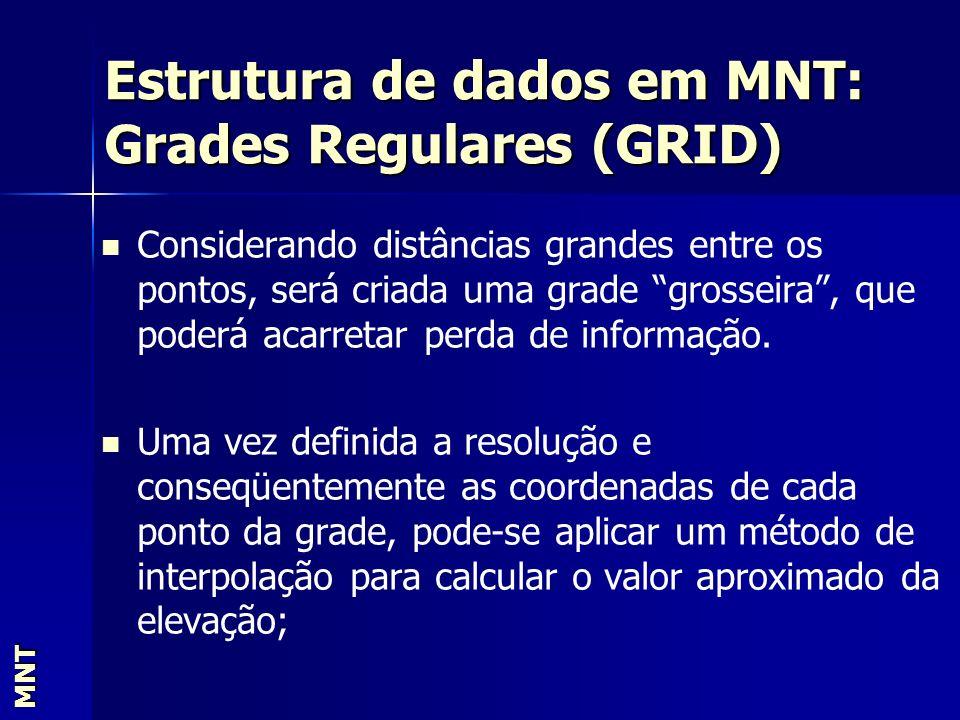 Estrutura de dados em MNT: Grades Regulares (GRID) MNT Considerando distâncias grandes entre os pontos, será criada uma grade grosseira, que poderá ac