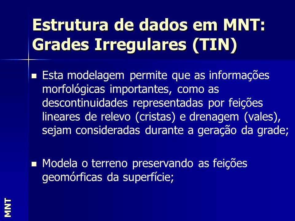 Estrutura de dados em MNT: Grades Irregulares (TIN) MNT Esta modelagem permite que as informações morfológicas importantes, como as descontinuidades r