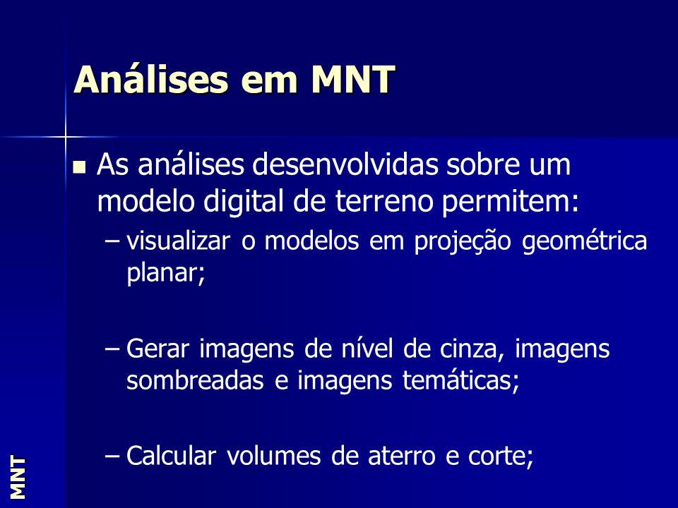 Análises em MNT MNT As análises desenvolvidas sobre um modelo digital de terreno permitem: – –visualizar o modelos em projeção geométrica planar; – –G