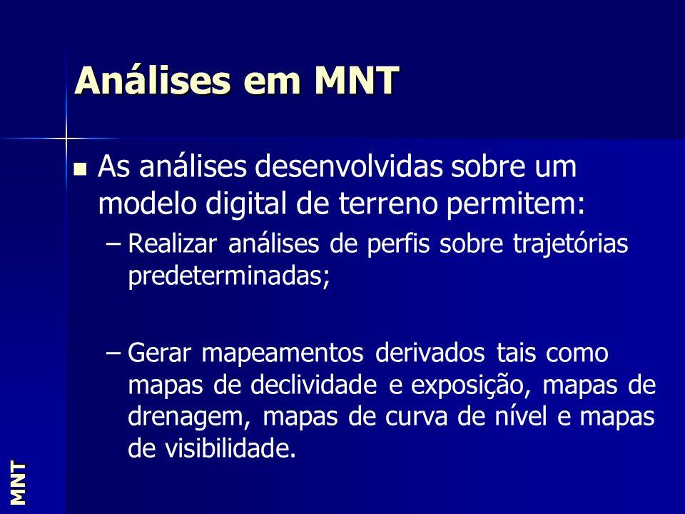 Análises em MNT MNT As análises desenvolvidas sobre um modelo digital de terreno permitem: – –Realizar análises de perfis sobre trajetórias predetermi