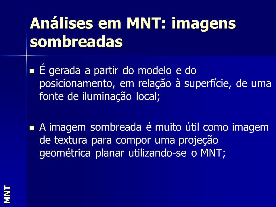 Análises em MNT: imagens sombreadas MNT É gerada a partir do modelo e do posicionamento, em relação à superfície, de uma fonte de iluminação local; A