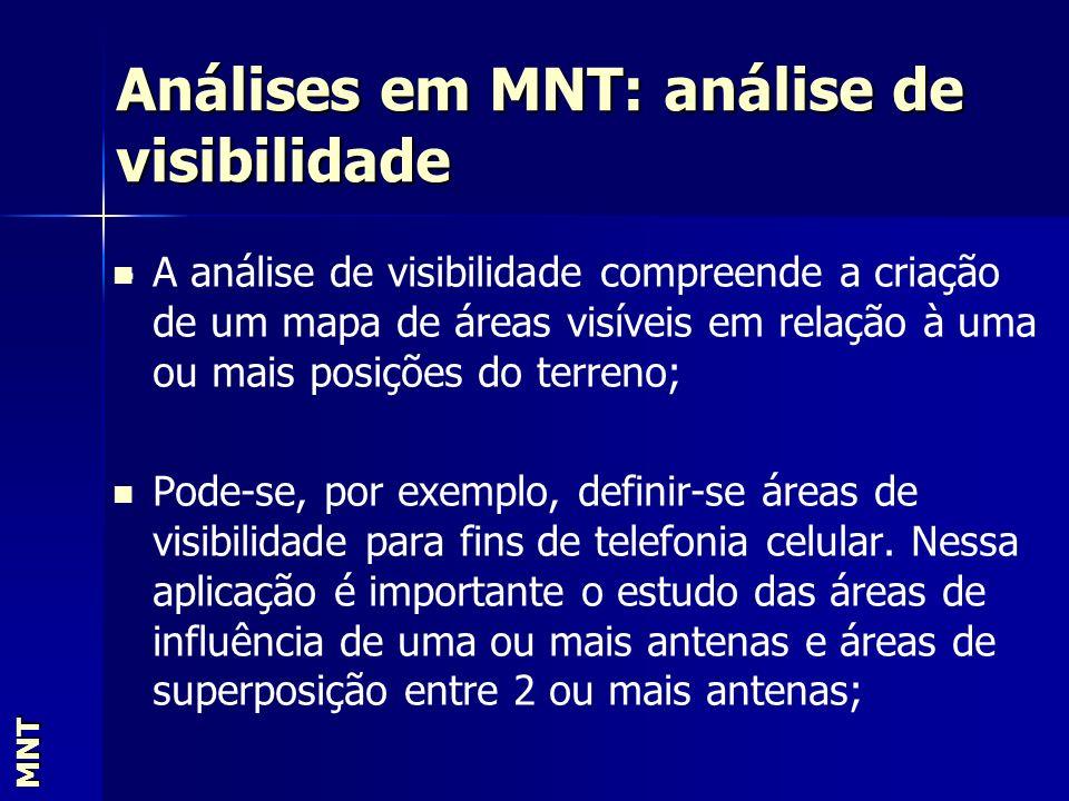 Análises em MNT: análise de visibilidade MNT. A análise de visibilidade compreende a criação de um mapa de áreas visíveis em relação à uma ou mais pos
