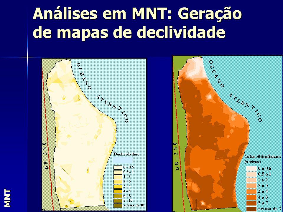 Análises em MNT: Geração de mapas de declividade MNT