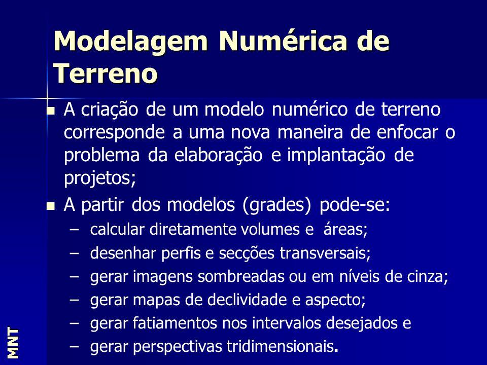 Modelagem Numérica de Terreno MNT A criação de um modelo numérico de terreno corresponde a uma nova maneira de enfocar o problema da elaboração e impl