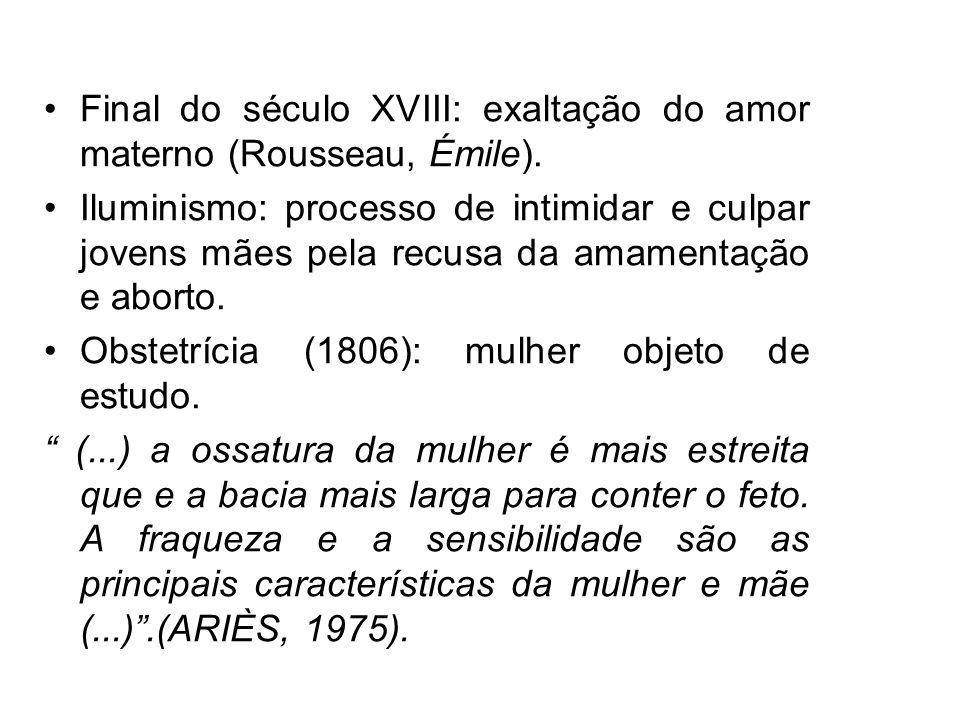 Final do século XVIII: exaltação do amor materno (Rousseau, Émile). Iluminismo: processo de intimidar e culpar jovens mães pela recusa da amamentação