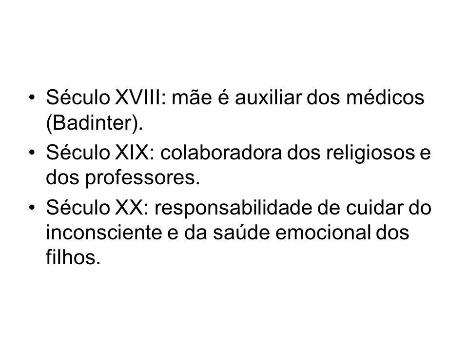 Século XVIII: mãe é auxiliar dos médicos (Badinter). Século XIX: colaboradora dos religiosos e dos professores. Século XX: responsabilidade de cuidar