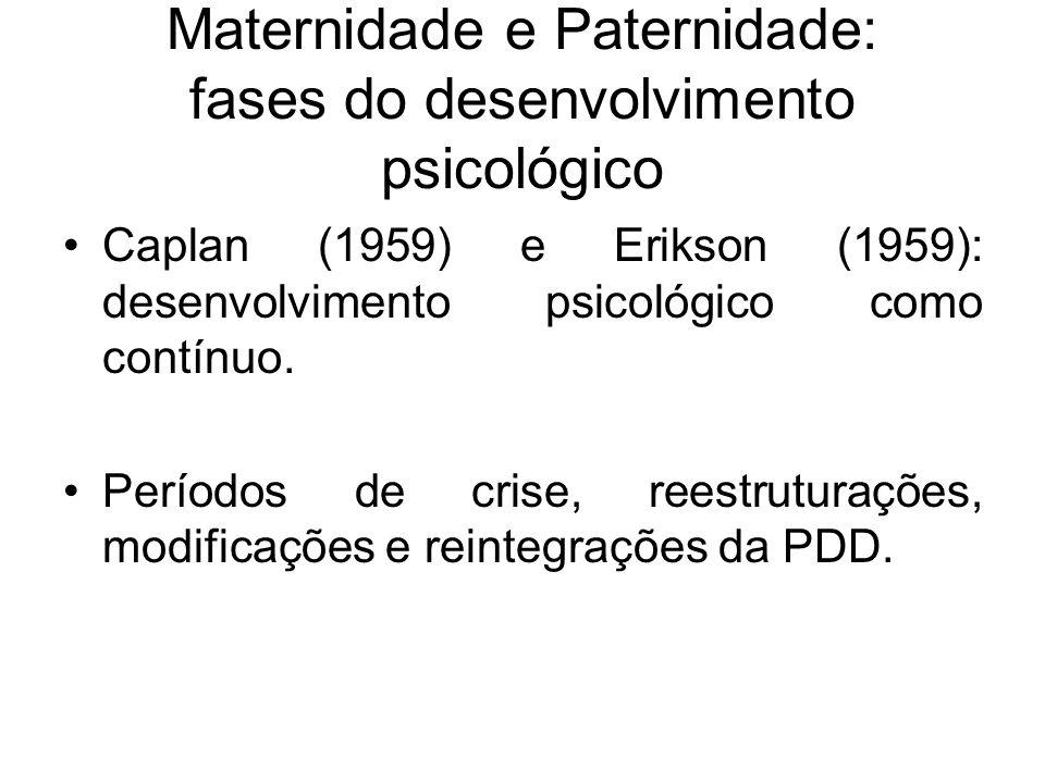 Maternidade e Paternidade: fases do desenvolvimento psicológico Caplan (1959) e Erikson (1959): desenvolvimento psicológico como contínuo. Períodos de