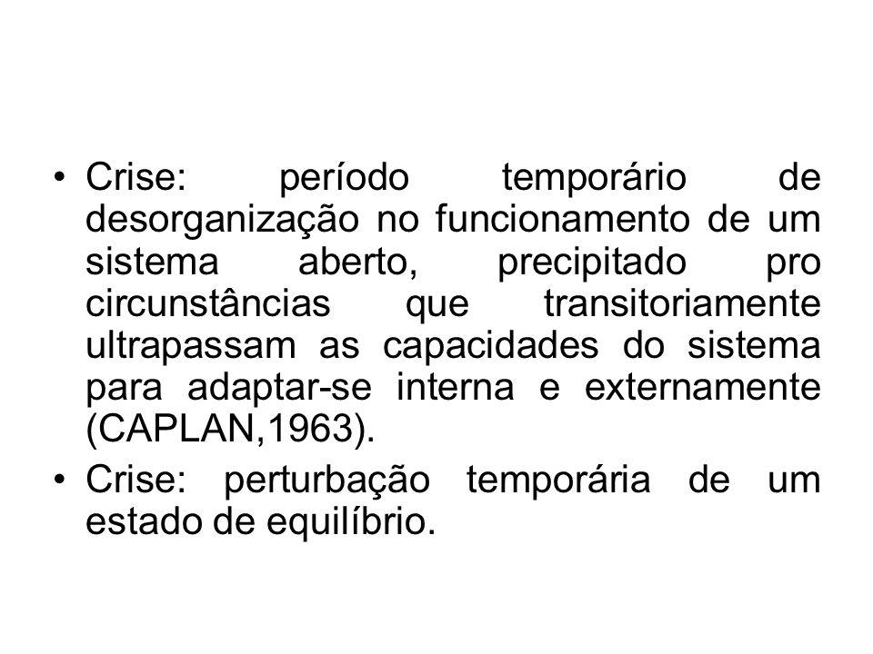 Crise: período temporário de desorganização no funcionamento de um sistema aberto, precipitado pro circunstâncias que transitoriamente ultrapassam as