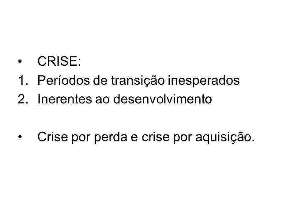 CRISE: 1.Períodos de transição inesperados 2.Inerentes ao desenvolvimento Crise por perda e crise por aquisição.