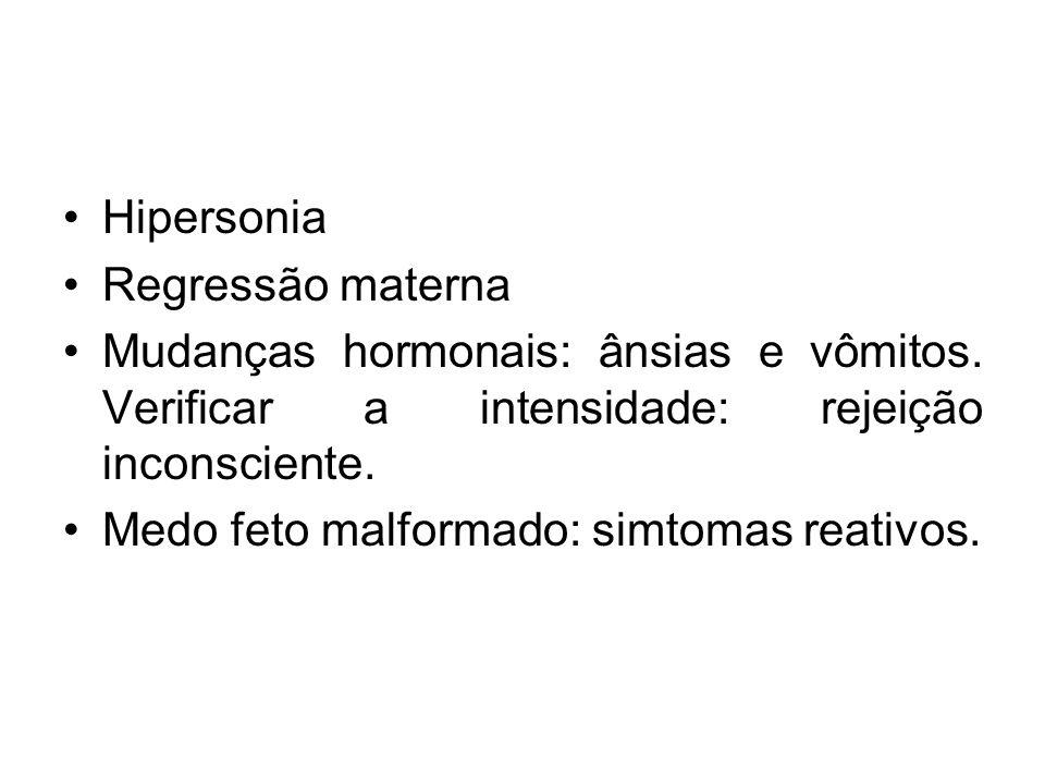 Hipersonia Regressão materna Mudanças hormonais: ânsias e vômitos. Verificar a intensidade: rejeição inconsciente. Medo feto malformado: simtomas reat