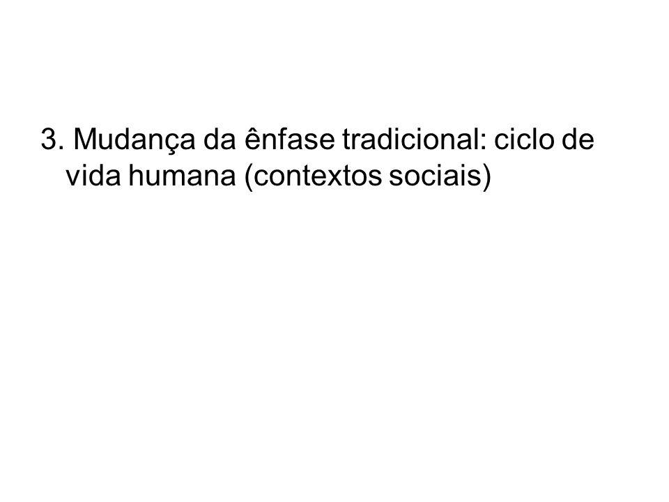 3. Mudança da ênfase tradicional: ciclo de vida humana (contextos sociais)