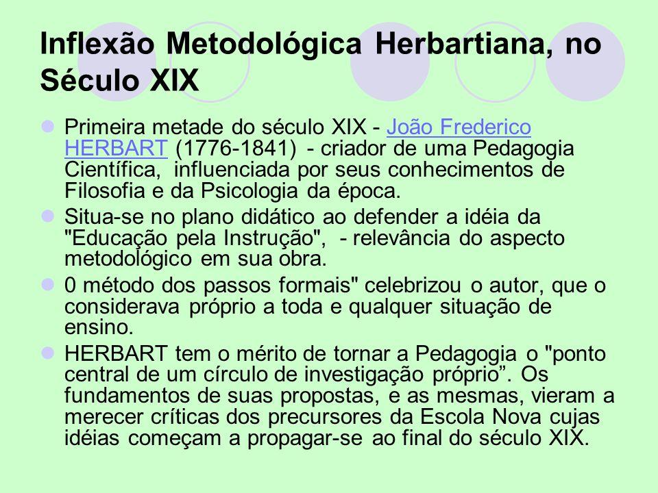 Inflexão Metodológica Herbartiana, no Século XIX Primeira metade do século XIX - João Frederico HERBART (1776-1841) - criador de uma Pedagogia Científ