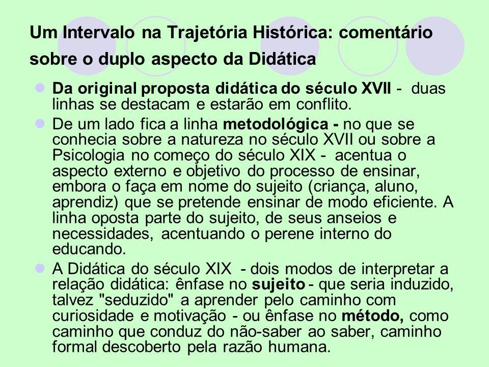 Um Intervalo na Trajetória Histórica: comentário sobre o duplo aspecto da Didática Da original proposta didática do século XVII - duas linhas se desta