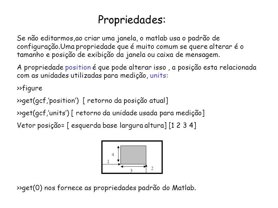 Propriedades: Se não editarmos,ao criar uma janela, o matlab usa o padrão de configuração.Uma propriedade que é muito comum se quere alterar é o taman