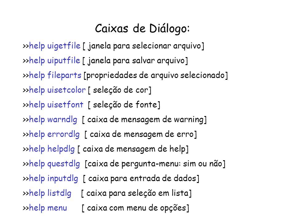 Caixas de Diálogo: >>help uigetfile [ janela para selecionar arquivo] >>help uiputfile [ janela para salvar arquivo] >>help fileparts [propriedades de