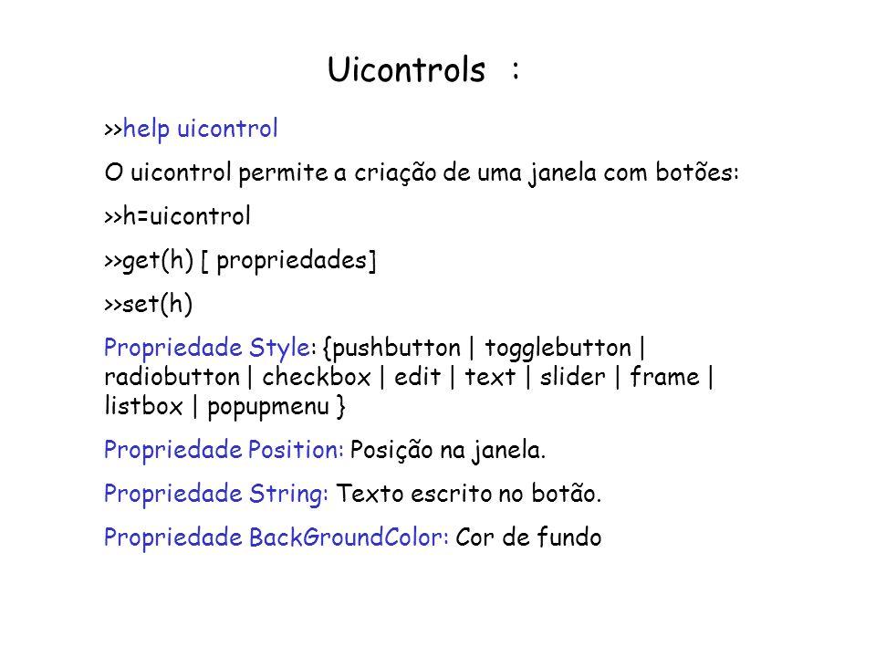 Uicontrols : >>help uicontrol O uicontrol permite a criação de uma janela com botões: >>h=uicontrol >>get(h) [ propriedades] >>set(h) Propriedade Styl