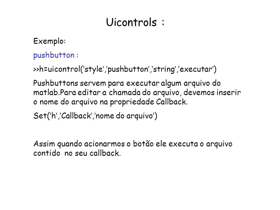 Uicontrols : Exemplo: pushbutton : >>h=uicontrol(style,pushbutton,string,executar) Pushbuttons servem para executar algum arquivo do matlab.Para edita
