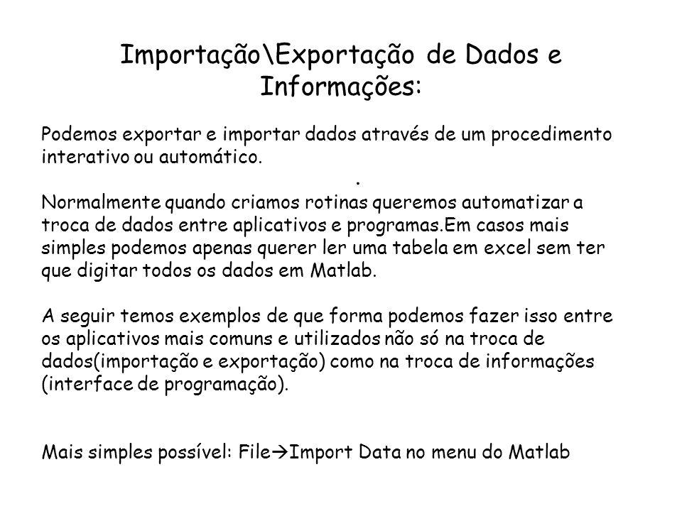 Importação\Exportação de Dados e Informações:. Podemos exportar e importar dados através de um procedimento interativo ou automático. Normalmente quan