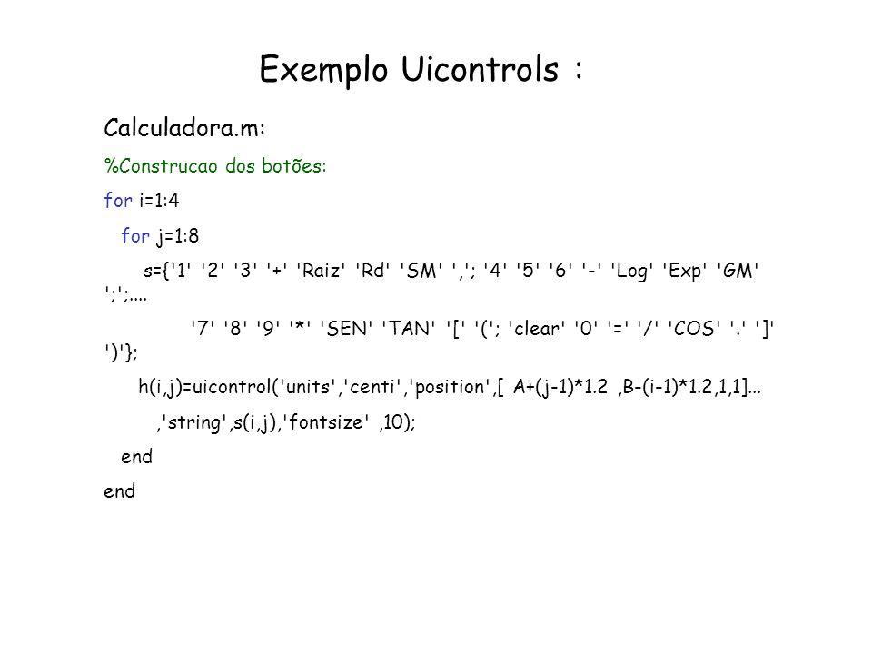 Exemplo Uicontrols : Calculadora.m: %Construcao dos botões: for i=1:4 for j=1:8 s={'1' '2' '3' '+' 'Raiz' 'Rd' 'SM' ','; '4' '5' '6' '-' 'Log' 'Exp' '